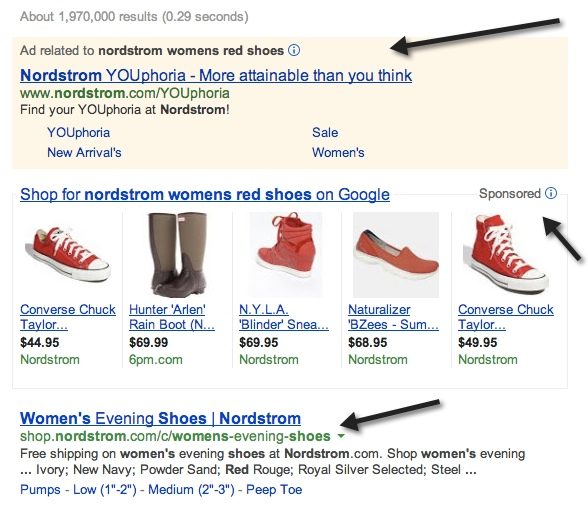 Example of Three Listings for a Brand in a Search Result