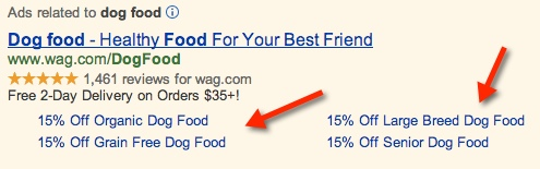 Ad Sitelinks Example Screenshot