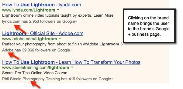 Google Plus Info on AdWords Ad