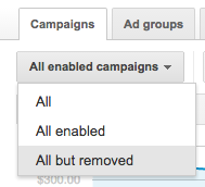 AdWords filter all enabled