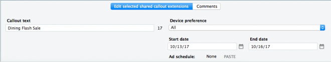 Callout Extension Scheduling