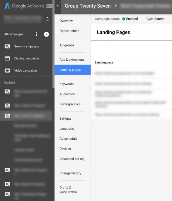 AdWords double navigation