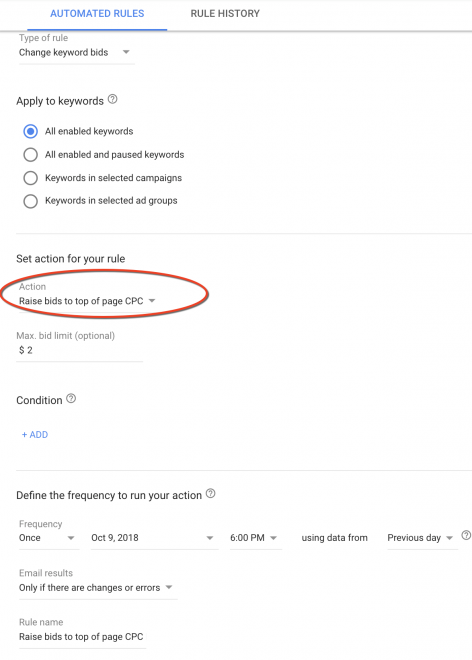 Google Ads top of the page rule